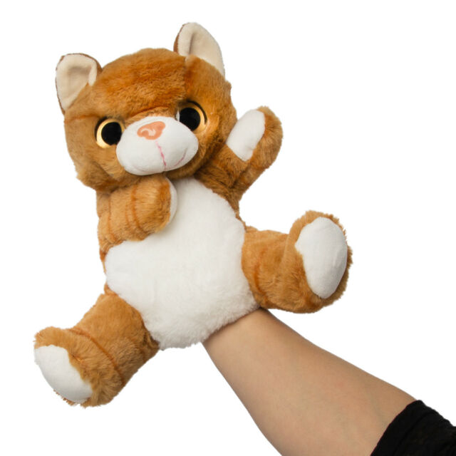 10 Inch Orange Tabby Cat Plush Stuffed Animal Hand Puppet By Wild