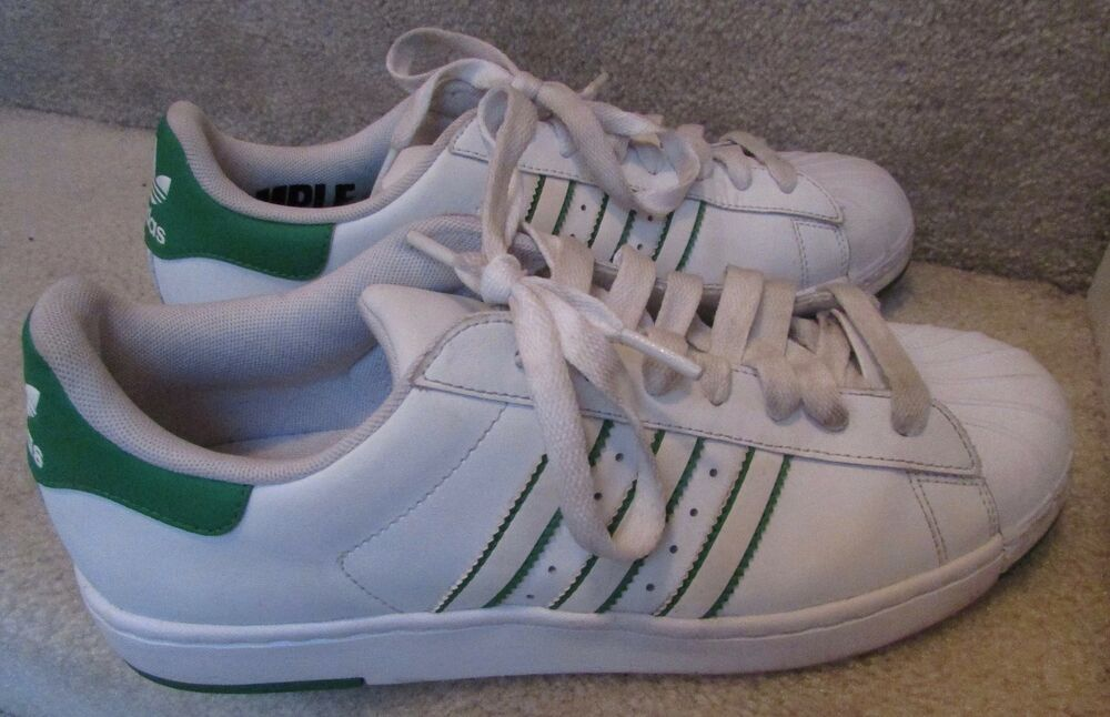 Adidas Original Superstar Lite SAMPLE Sz9 Sneakers blanc Green Accents G48322