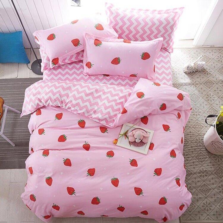 Fashion Strawberry Priting Bedding Set Duvet Cover+Sheet+Pillow Case Four-Piece