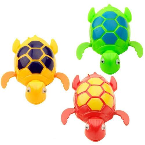 3x Random Colour Kids Baby Bath Pool Swimming Turtle Winding Wind up Animal Toy`
