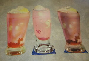 Lot of 3 HUGE Old 1950's Vintage SODA FOUNTAIN / DINER Strawberry MALT - DIECUTS