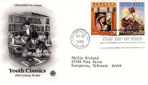 1993-Commemorative-Jeunes-Classique-2-Timbres-Pieces-Cachet-Machine-Adressee