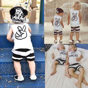 d11bb360c USA Toddler Kids Baby Boy Girl Tops T-shirt Shorts Pants 2Pcs Outfit ...