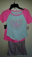 'so' Girls 5-6 Pug Pajamas 3-piece Set Short Sleeve Shorts Pants Pink Dog 38517