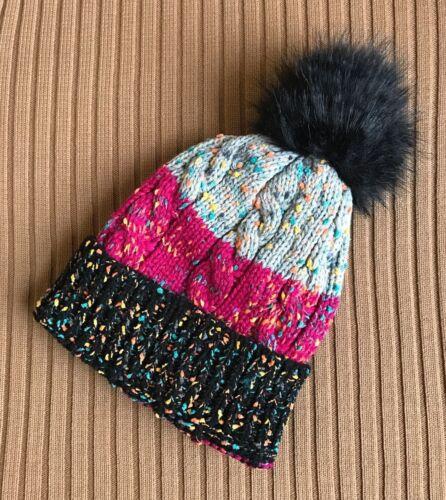 Câble de confettis knitthick Beanie Sherpa Doublure Polaire Fausse Fourrure POM POM Skully Chapeau