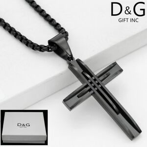 Dg mens 24 blackainless steelx chain necklaceoss pendant image is loading dg men 039 s 24 034 black stainless aloadofball Images