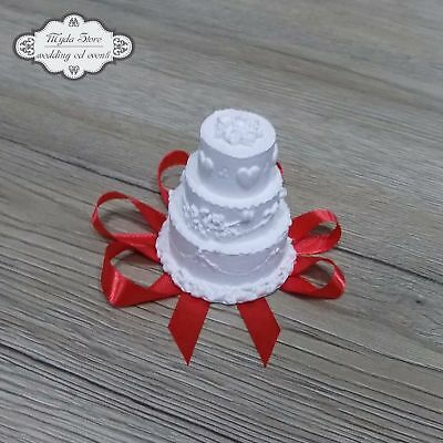Segnaposto Matrimonio Mini Torte.Gessi Gessetti Mini Cake Torta Segnaposto Bomboniera 50 Pz Nastri