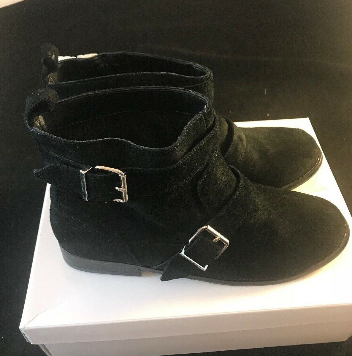 BNIB SOPHIE&SAM Women's Designer 0158402-08 Black Suede Buckle Detail Boots UK7