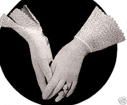 Vintage Fishnet Mesh Gauntlet Gloves Crochet PATTERN