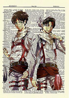 Eren Levi Attack On Titan Anime Dictionary Art Print Poster Picture Manga Book
