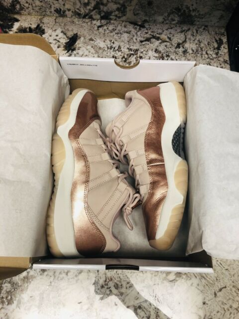genuine shoes many fashionable best sale Air Jordan 11 Retro Low Rose Gold Womens Ah7860-105 Sail Bronze ...