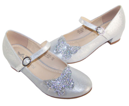 Girls Childrens Silver Sparkly Butterfly Heel Party Wedding Bridesmaid Occasion