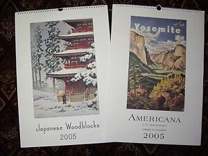 ONE LARGE JAPANESE WOODBLOCK CALENDER amp LARGE AMERICANA CALENDER ONE PRICE - <span itemprop='availableAtOrFrom'>Llandudno, United Kingdom</span> - ONE LARGE JAPANESE WOODBLOCK CALENDER amp LARGE AMERICANA CALENDER ONE PRICE - Llandudno, United Kingdom