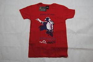 Michael-Jackson-Rey-del-Pop-retrato-Camiseta-Rojo-Cereza-Nuevo-Oficial-Thriller