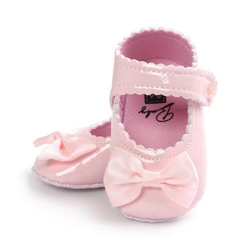 Newborn Baby Girls Bow Anti-slip Leather Crib Shoes Moccasin Soft Sole Prewalker