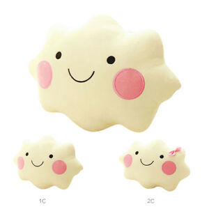 Soft Plush Toy Smiley Face Cloud Pillow Cotton Stuffed Back Seat