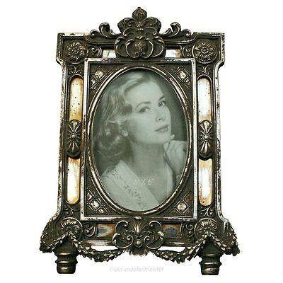 Bilderrahmen Fotorahmen Oval Rahmen silber Spiegel Nostalgie Antik Rokoko Barock