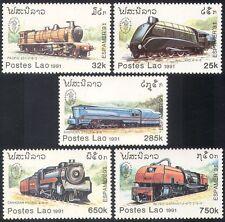 Laos 1991 Steam Trains/Engines/Locomotives/Rail/Railways/Transport 5v set b8346