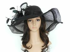 New Church Kentucky Derby Wedding Sinamay Wide Brim Dress Hat cc2963 Black