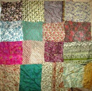 LOT-PURE-SILK-Vintage-Sari-Fabrics-REMNANT-16-pcs-8-034-SQUARES-SMALL-FLOWER-FLORAL