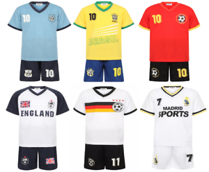 KIDS FOOTBALL JERSEY SOCCER SHORT SLEEVES TWO PIECE FOOTBALL SPORTS KIT 4-14 YR