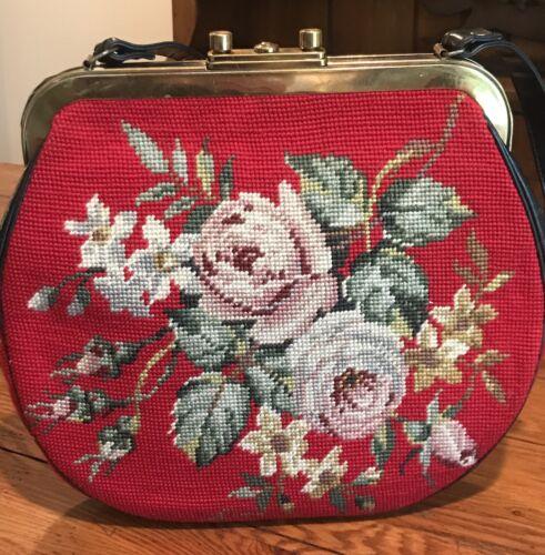 Vintage 1950s Red Floral Handmade Needlepoint Rose
