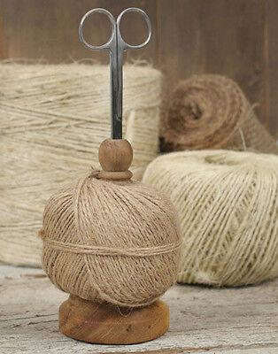 Primitive/Farmhouse/Cottage/Country Twine Jute String Caddy Holder & Scissors