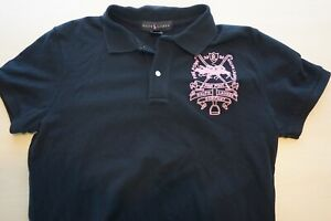 Ralph-Lauren-Black-Label-Pink-Pony-Woven-Logo-Womens-Polo-Shirt-Sz-L