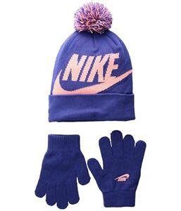 853e11e84 NIKE Kids' Swoosh 7/16 Pom Beanie Hat and Gloves Set Rush Violet | eBay