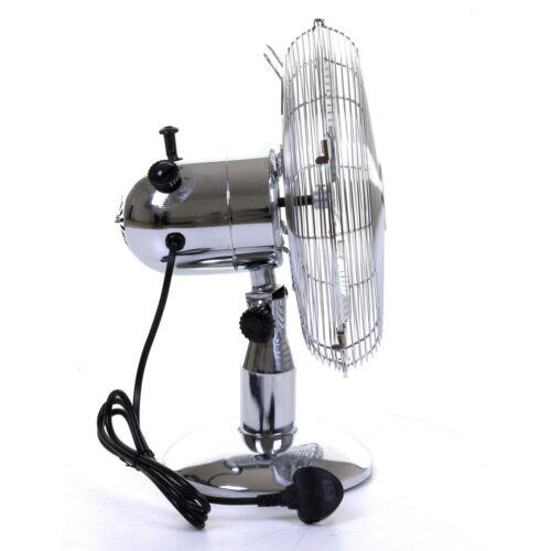 "12/"" Chrome Desk Table Fan Freestanding Oscillating Home Office Cooling 3 Speeds"