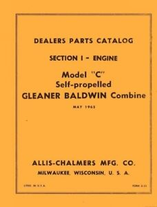 s l300 allis chalmers c gleaner combine engine parts manual ebay