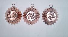 Lot de 3 moules à flan/cannelés en cuivre avec zodiaques Gémeaux/Lion/Capricorne