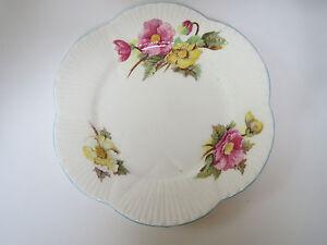 Elegant Shelley Fine Bone China Begonia Salad Plate Free Shipping Dainty Shape Blue Set of Four Plate