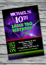 LASER TAG Glow Neon Birthday Party Invitation Personalized Custom GIRL BOY 13th