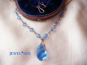ART-DECO-JEWELLERY-Heavenly-Blue-Crystal-Unusual-Facet-Dropper-Vintage-NECKLACE