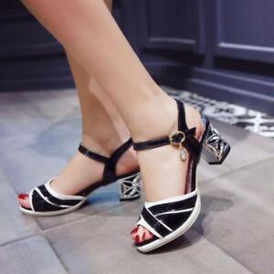 9967dea7e062 Image is loading Women-Chunky-Heel-Buckle-Stripe-Sandals-Slingback-Dress-