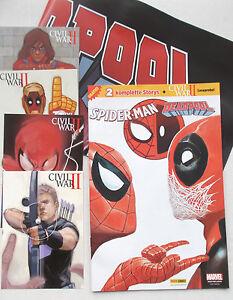 Marvel-Gratis-Comic-CIVIL-WAR-II-4-Postkarten-Poster-Deadpool-Spider-Man