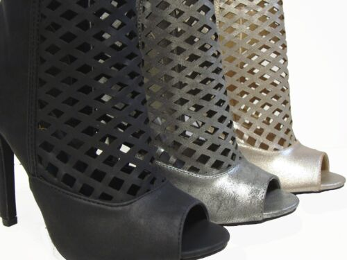 Qupid Black Pewter Gold Peep Toe Stiletto Heels Ankle Boots Sandals Shoes