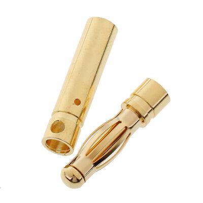 10 Pairs 3mm 3.0 Gold-plated Banana Plug Connector DIY RC Battery ESC Motor