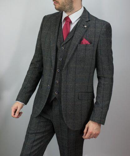 Homme CAVANI Tweed 3 Piece Costume Laine Blazer Gilet Pantalon Court Régulier Long
