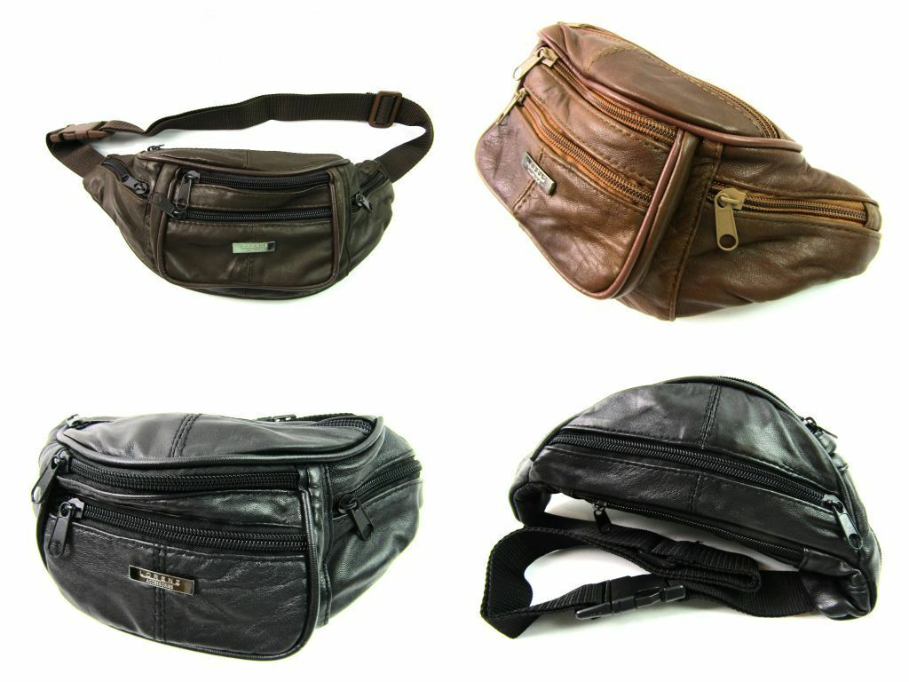 High Quality Soft Real Leather Bum Bag Money Waist Wallet Purse Travel Security
