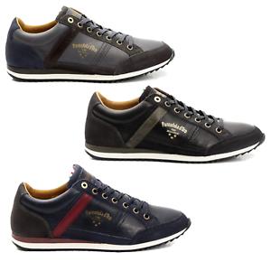 shoes Sneakers Pelle men Pantofola d'gold shoes Men Matera Low blue grey 10183