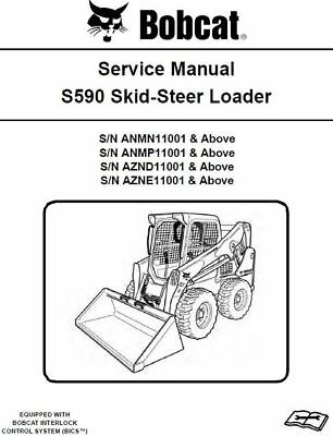 Bobcat S590 Skid-Steer Loader ANMN, ANMP, AZND, AZNE Service Manual CD |  eBay