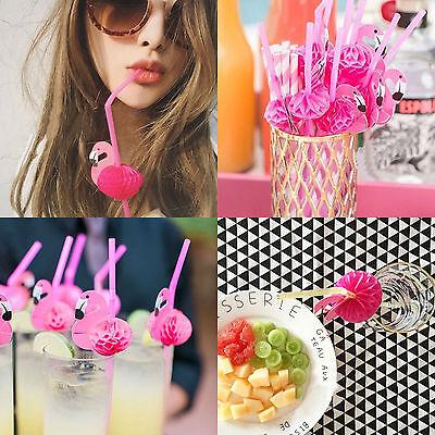 50x Flamingo Cocktails Drinking Straws Hawaiian Party Luau Fun Accessories Decor