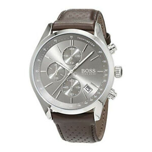 100-New-Hugo-Boss-1513476-Grand-Prix-Brown-Leather-Silver-Dial-Men-039-s-Watch-44mm