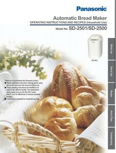 Details about Panasonic Automatic Bread Maker Instruction Manual Book for  SD-2500 / SD-2501