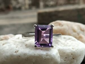 925-Sterling-Silver-Natural-Purple-Amethyst-Octagun-Shape-Gift-Ring