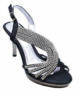 womens black diamante strappy wedding evening high heel
