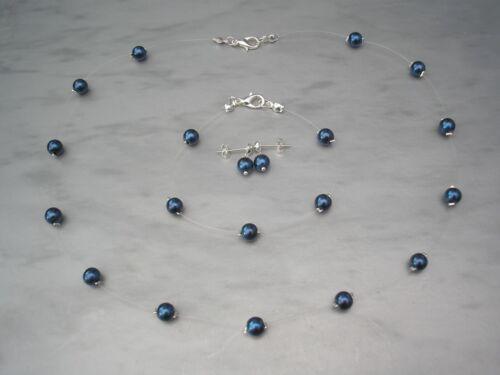 Floating Illusion Pearl Necklace Bracelet /& Earrings Set Adult /& Child sizes 17C