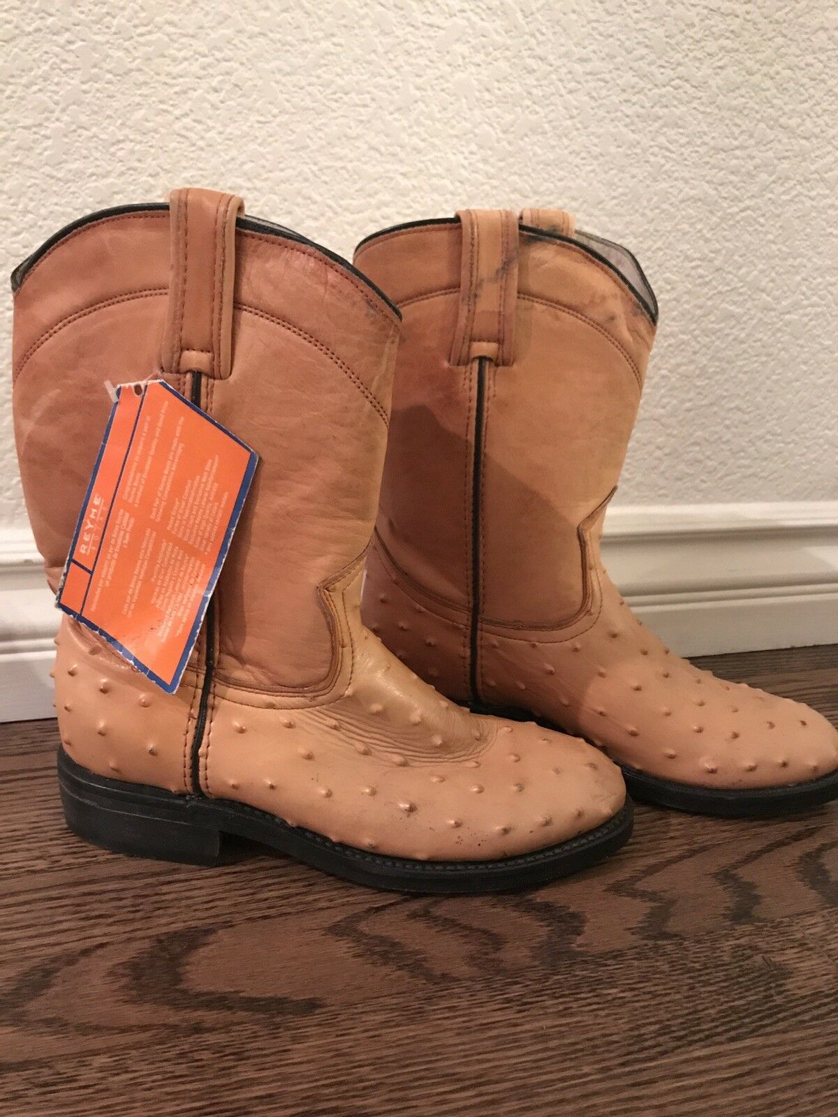 NEW tags REYME Mexican Boots Women's 7.5A  Tan leather Ostrich Western cowboy